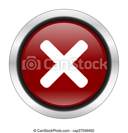 cancel icon, red round button isolated on white background, web design illustration - csp37049450