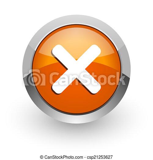 cancel orange glossy web icon - csp21253627