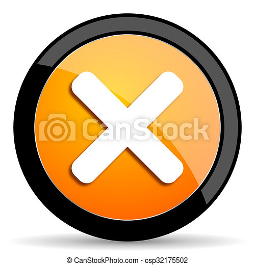 cancel orange icon - csp32175502