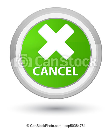 Cancel prime soft green round button - csp50384784
