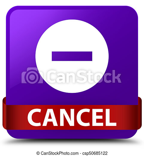 Cancel purple square button red ribbon in middle - csp50685122