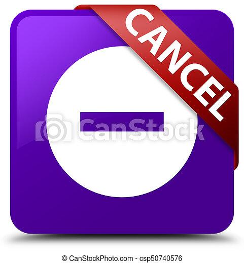Cancel purple square button red ribbon in corner - csp50740576