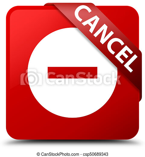 Cancel red square button red ribbon in corner - csp50689343