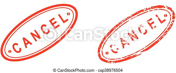 Cancela la palabra sello rojo - csp38976504