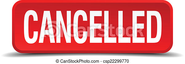cancelled red three-dimensional square button isolated on white background - csp22299770