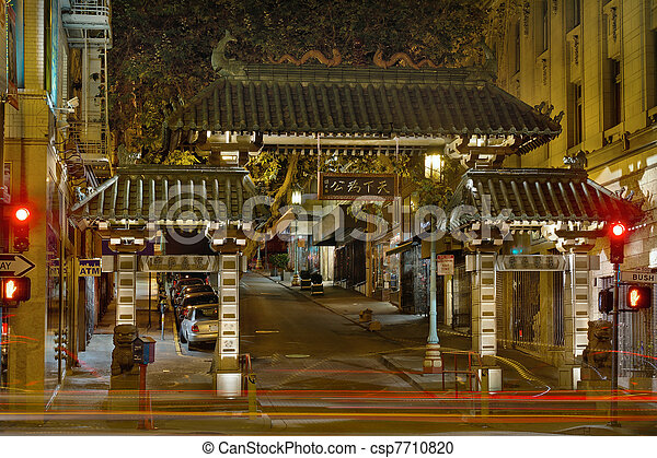 cancello, francisco, chinatown, san, notte - csp7710820