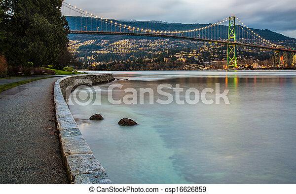 cancello, leoni, tramonto, ponte - csp16626859