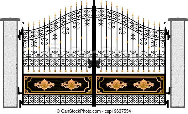 cancello, vettore, silhouette - csp19637554