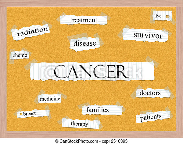 Cancer Corkboard Word Concept - csp12516395