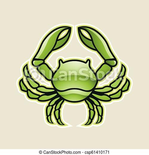 cancer, illustration, vecteur, vert, lustré, crabe, ou, icône - csp61410171
