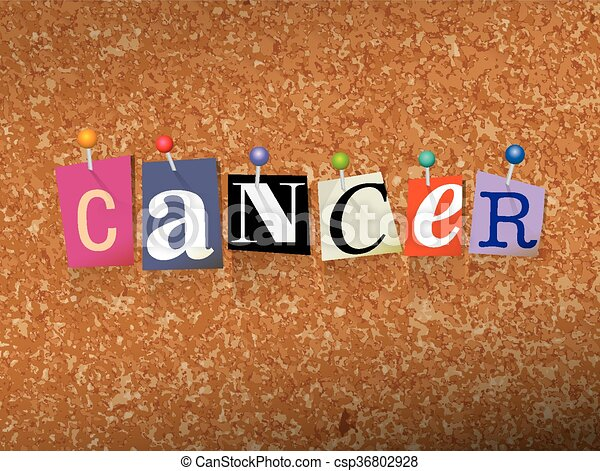 Cancer Pinned Paper Concept Illustration - csp36802928