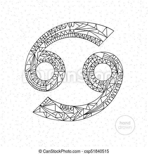 Cancer Zodiac Sign Vector Hand Drawn Horoscope Illustration Astrological Coloring Page