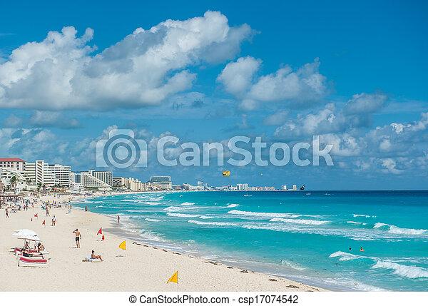 Cancun beach panorama, Mexico - csp17074542