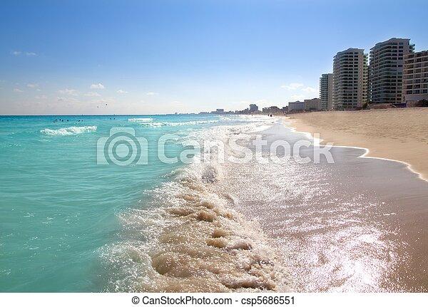 Cancun caribbean sea beach shore turquoise - csp5686551