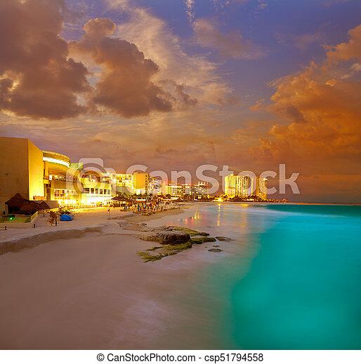 Cancun Forum Beach Sunset In Mexico