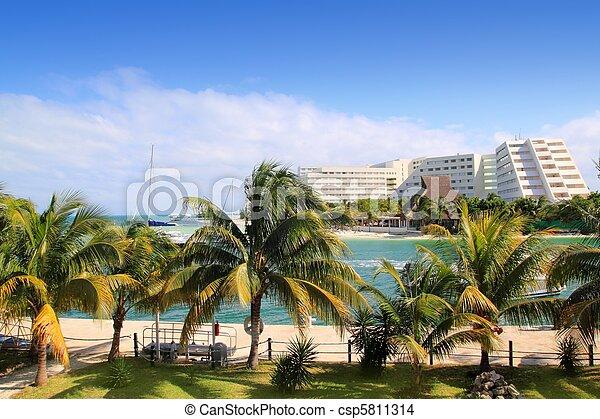 cancun, mer caraïbes, lagune, mexique - csp5811314