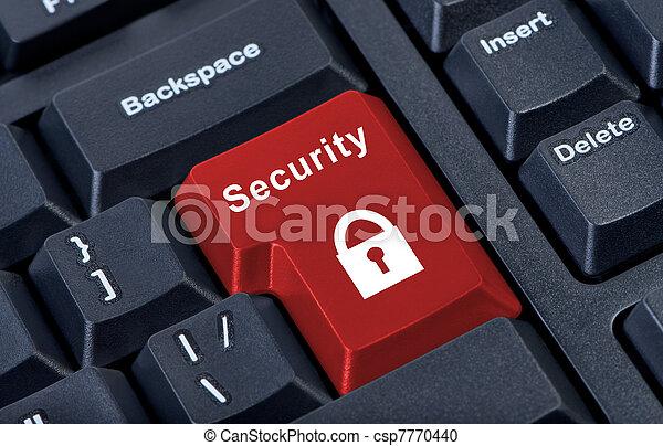 La señal de seguridad del candado de botones. - csp7770440