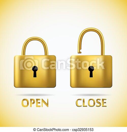 Oro de candado y cerrado - csp32935153