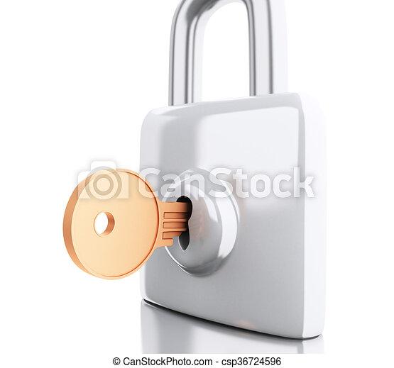 Padlock 3d con llave. Un concepto de seguridad. - csp36724596