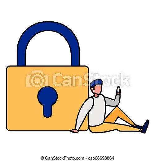 Hombre con candado seguro - csp66698864