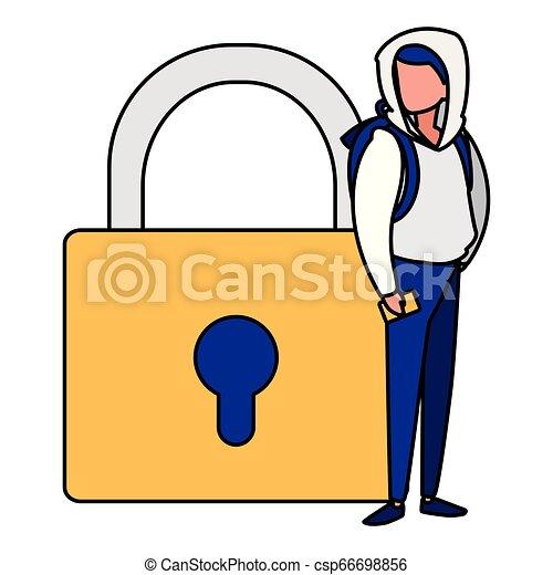 Hombre con candado seguro - csp66698856