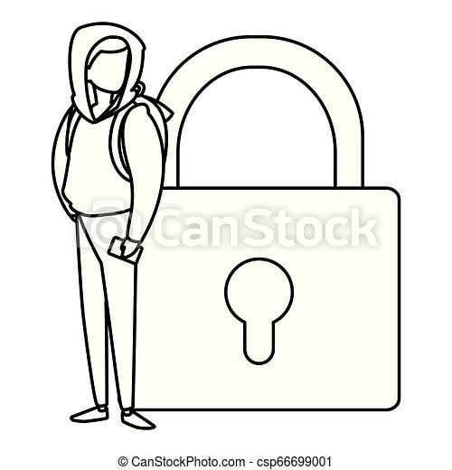 Hombre con candado seguro - csp66699001