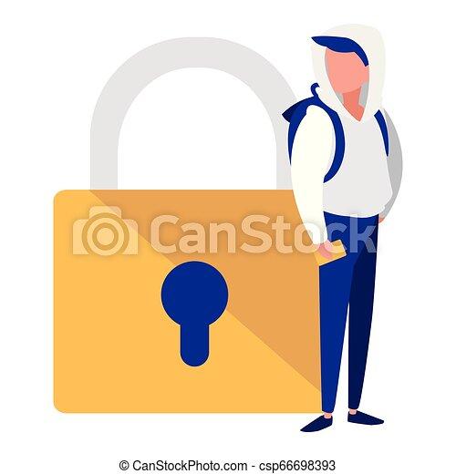 Hombre con candado seguro - csp66698393