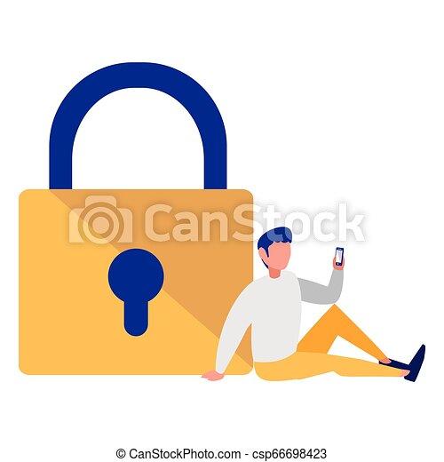Hombre con candado seguro - csp66698423