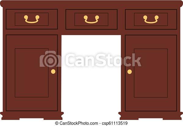 candelabros, retro, espelho, console, vestindo - csp61113519