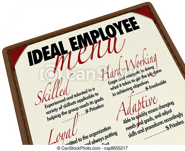 candidat, menu, idéal, métier, choisir, employé - csp8655217