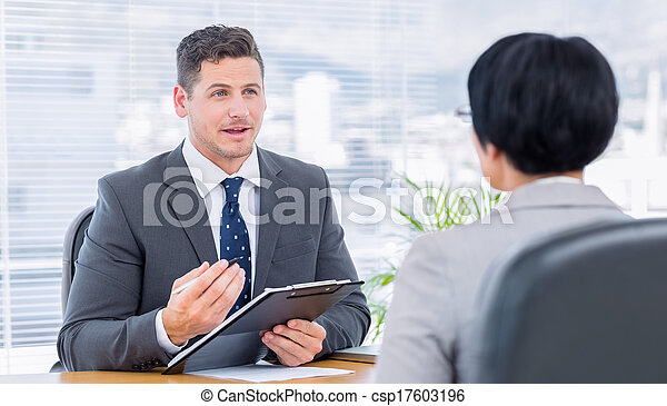 candidat, vérification, recruteur, entretien travail, pendant - csp17603196