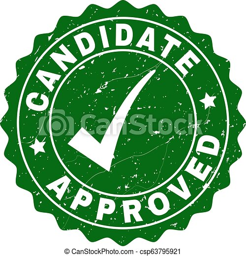 Candidate Approved Scratched Stamp with Tick - csp63795921