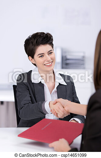 Candidate Shaking Hands With Businesswoman At Desk - csp14651099