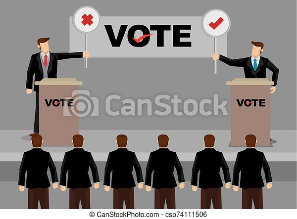 Candidates in Debate for Election Vector Illustration - csp74111506