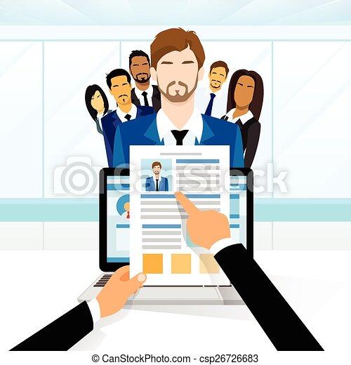 candidato, currículo, recrutamento, trabalho, posição, vitae - csp26726683