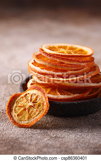 candied orange fruits for dessert and decoration - csp86360401