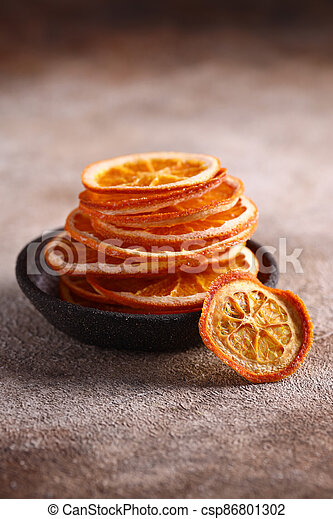 candied orange fruits for dessert and decoration - csp86801302