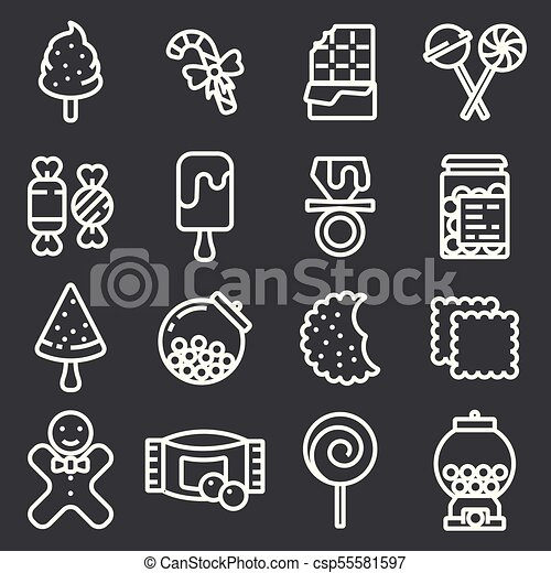 Candies icons set. Various sweets, thin line design. - csp55581597