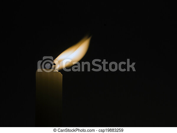 Candle In The Dark Room Single Candle Flame In The Dark Room