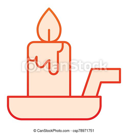 Candle on a candlestick flat icon. Burning fire and wax stick on plate. Halloween party vector design concept, gradient style pictogram on white background. - csp78971751