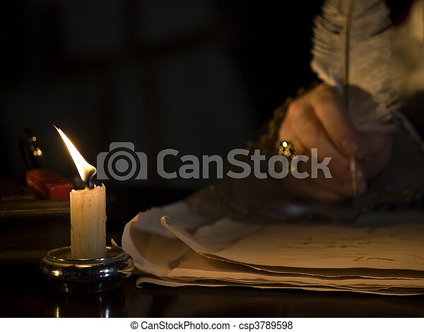 Candlelight & Quill - csp3789598