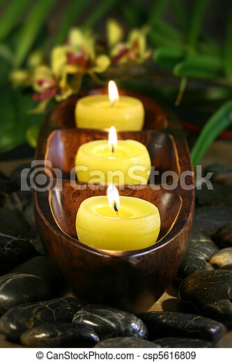Candles with rocks for aromatherapy - csp5616809
