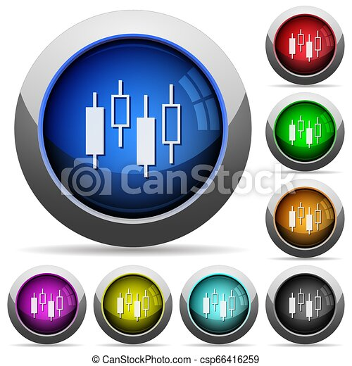 Candlestick chart round glossy buttons - csp66416259