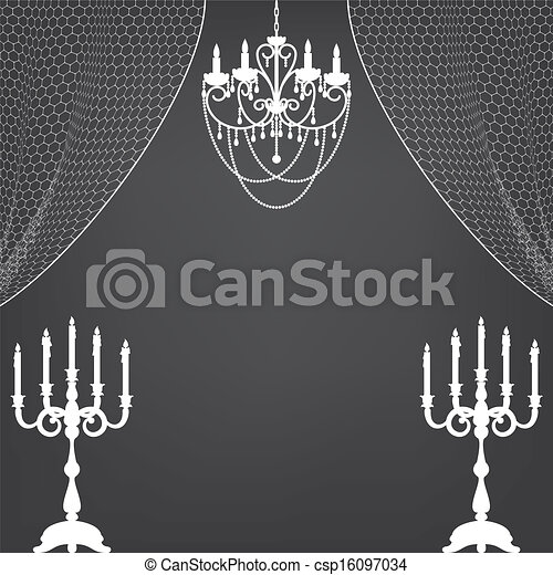 candlestick, curtains and chandelier - csp16097034