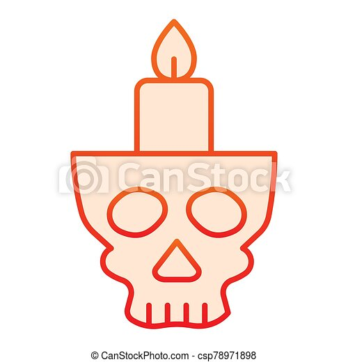 Candlestick in head flat icon. Candle in scary scull. Halloween party vector design concept, gradient style pictogram on white background. - csp78971898