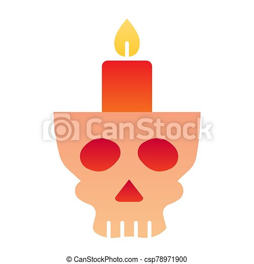 Candlestick in head flat icon. Candle in scary scull. Halloween party vector design concept, gradient style pictogram on white background. - csp78971900