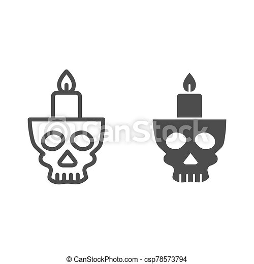 Candlestick in head line and solid icon. Candle in scary scull. Halloween party vector design concept, outline style pictogram on white background. - csp78573794