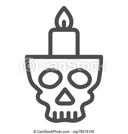 Candlestick in head line icon. Candle in scary scull. Halloween party vector design concept, outline style pictogram on white background. - csp78574105