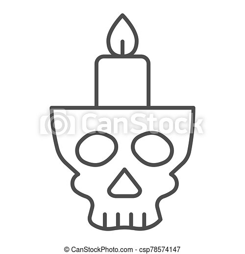 Candlestick in head thin line icon. Candle in scary scull. Halloween party vector design concept, outline style pictogram on white background. - csp78574147