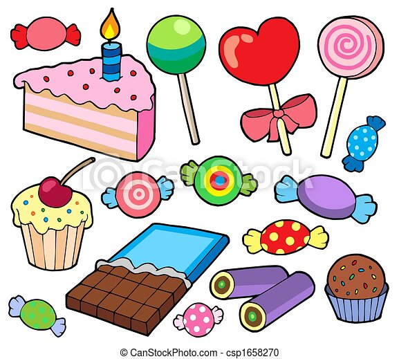 candy and cakes collection isolated illustration stock rh canstockphoto com clipart of candy cane clip art of candy bars
